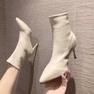 白色高跟鞋短靴女尖頭細跟中筒靴子2021新款女冬季加絨保暖彈力瘦瘦靴 8號店