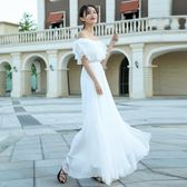 一字領洋裝 新款收腰一字白色雪紡連身裙長裙波西米亞海邊度假沙灘裙 巴黎春天