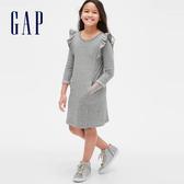 Gap女童童趣刺繡圓領長袖連衣裙540345-麻灰色