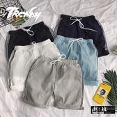 『潮段班』【HJ003087】韓版純棉側邊線條百搭短褲休閒短褲