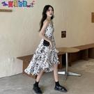 短袖洋裝 法式初戀溫柔風碎花吊帶連身裙女夏季設計感小眾小個子氣質長裙子 新品新品