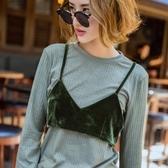 長袖T恤(兩件套)-針織時尚個性休閒絲絨BRA女上衣73qu13[巴黎精品]