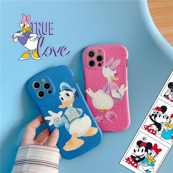 iPhone12 蘋果手機殼 預購 可掛繩 藍粉唐老鴨黛西 矽膠軟殼 i11/iX/i8/i7/SE