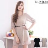 蕾絲洋裝--浪漫滿版蕾絲傘狀下擺附編織綁帶洋裝(黑.可可XL-5L)-D341眼圈熊中大尺碼