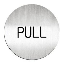 迪多Deflect-o 鋁質圓形貼牌-英文PULL拉指示 611310C