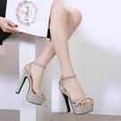 15公分恨天高夜店女鞋模特走秀鞋超高跟T臺車模細跟涼鞋40碼【全館免運】