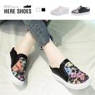 [Here Shoes] 6.5cm內增高休閒鞋 刺繡花朵網紗透膚 皮革圓頭楔型厚底半包鞋 懶人鞋 穆勒鞋-KN8307