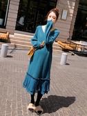 孕婦連衣裙秋冬季時尚寬松長袖大碼打底針織裙子孕婦裝冬裝上衣