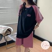 運動套裝女百搭顯瘦五分褲短袖t恤夏季兩件套【大碼百分百】