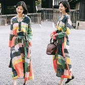 苧麻拼色印花亞麻洋裝/設計家 Q9142