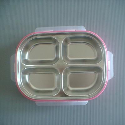 #304不銹鋼四格環保餐盒(粉紅色)/環保餐具組