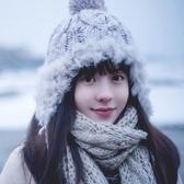 冬天帽子女士毛線帽針織保暖雷鋒帽護耳帽加厚毛絨 萬客居