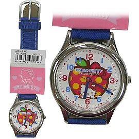 【波克貓哈日網】Hello kitty 凱蒂貓◇造型手錶腕錶◇《布面藍錶帶》