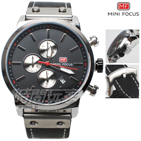 MINI FOCUS 潮男時尚 三眼多功能計時碼錶 男錶 不銹鋼 真皮錶帶 防水手錶 黑色 M0100黑