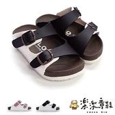 【樂樂童鞋】【台灣製現貨】MIT跳色小方扣拖鞋-咖啡色 C007 - MIT 台灣製 男童鞋 女童鞋 沙灘鞋