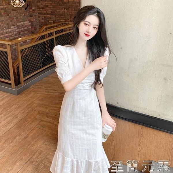 洋裝 白色洋裝女年新款夏天初戀氣質泡泡袖女神范收腰顯瘦長裙