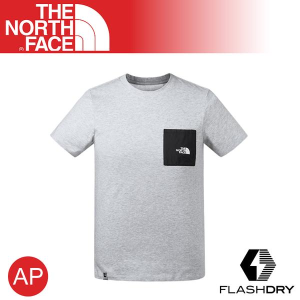 【The North Face 男 吸濕排汗短袖T恤《淺灰》】3V3T/FlashDry/運動衣/圓領衣/休閒衣