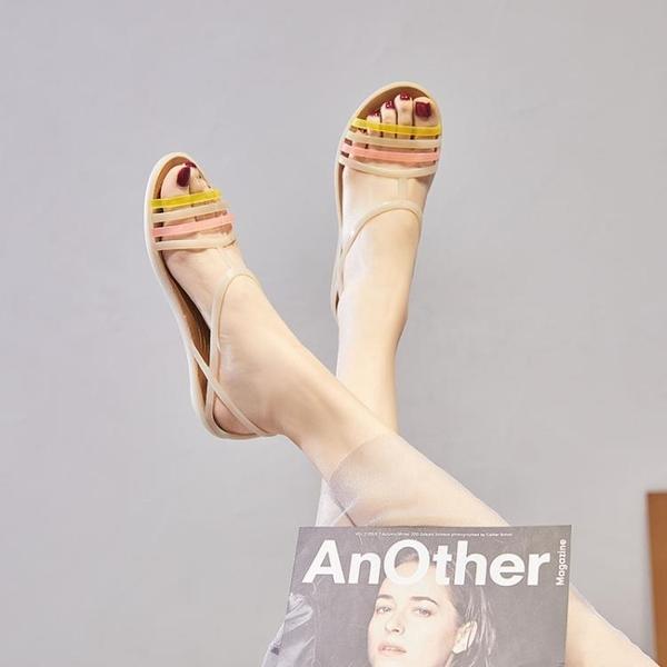 夏季新款塑料涼鞋女平跟沙灘洞洞鞋旗袍禮服軟底媽媽水晶果凍鞋女 【夏日新品】