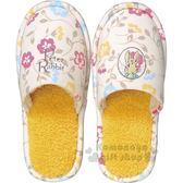 〔小禮堂〕Peter Rabbit 彼得兔 絨毛室內拖鞋《黃.大臉.花朵》絨毛拖.成人拖 4992272-62416