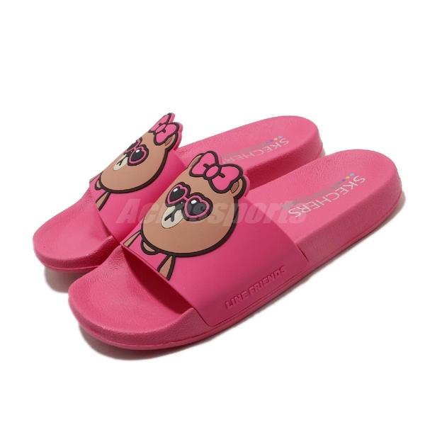 Skechers 拖鞋 Line Friends Pop Ups-Pal Parade 桃紅 棕 女鞋 熊美 Choco 聯名 限量【ACS】 31644FUS