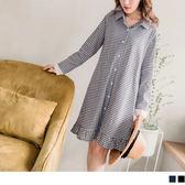 《DA5304-》高含棉布蕾絲拼接袖小百褶下襬格紋長版洋裝/外套 OB嚴選