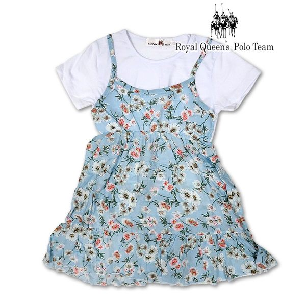 女童裝 假兩件式 洋裝 背心 連身裙 水藍色印花[0238-8] RQ POLO 5-15碼 春夏 童裝