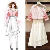 促銷價不退換中大尺碼XL-5XL洋裝時尚兩件套34125夏季女裝新款時尚露肩上衣不規則半身裙兩件套裝