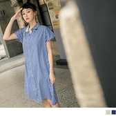 《DA8691》高含棉小格紋翻領排釦連袖襯衫洋裝 OrangeBear