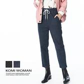 【南紡購物中心】KOMI-丹寧條紋鬆緊綁帶牛仔褲‧二色
