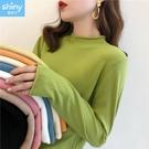 【V3275】shiny藍格子-舒感百搭.多色系卷邊針織薄款長袖上衣