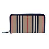 【台中米蘭站】全新品 BURBERRY Icon Stripe 品牌logo環保帆布寬版拉鍊長夾(8030448-淺駝)