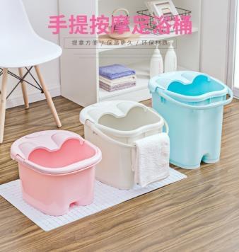 加厚泡腳桶塑料泡腳盆過小腿家用足浴桶洗腳桶保溫按摩加高深桶 MKS免運