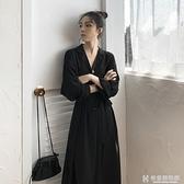 舒適洋裝 2020新款秋季法式復古襯衫長袖v領長裙胖妹妹顯瘦輕熟風洋裝女 快意購物網