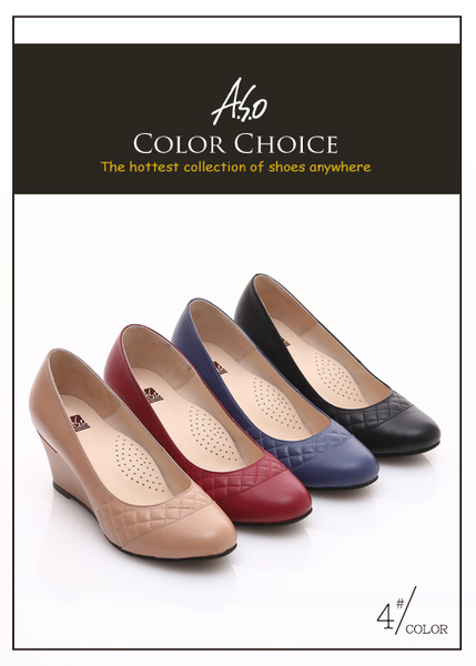 A.S.O 優雅時尚 真皮菱格壓紋金屬片楔型鞋 紅