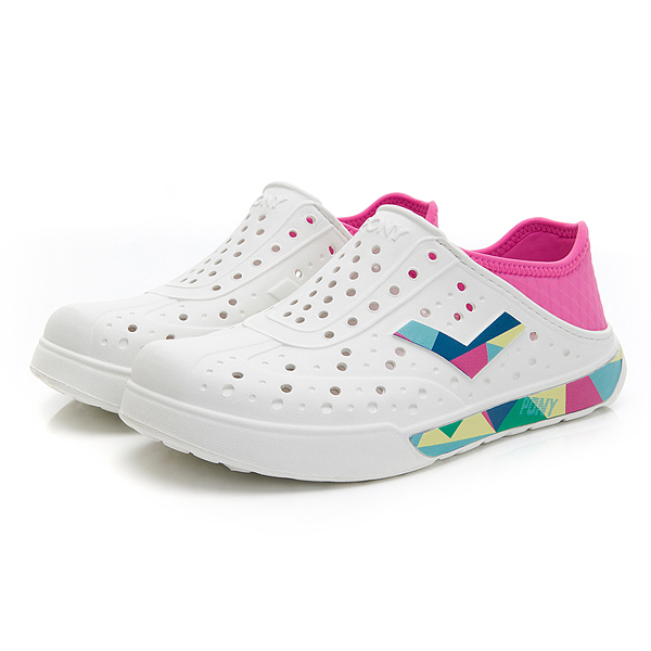 PONY ENJOY 中性款白粉彩色LOGO洞洞鞋 02U1SA02PM