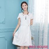 【RED HOUSE 蕾赫斯】白紗蕾絲波浪洋裝(白色)