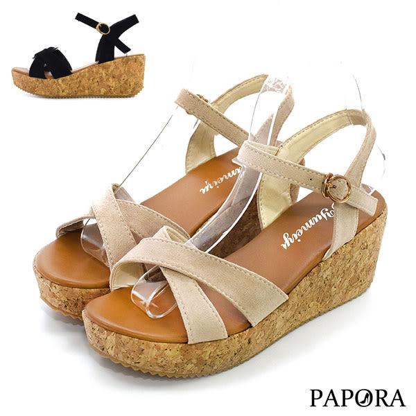 PAPORA淑女款厚底楔型涼鞋KE458黑/米