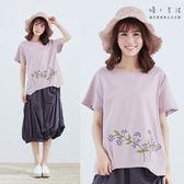 紫珠刺繡棉麻上衣(粉/灰)-F【慢。生活】