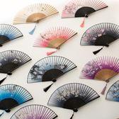 扇子摺扇中國風舞蹈扇女夏季摺疊扇古裝日式小復古布古典古風摺扇 祕密盒子