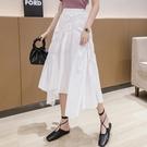 雪紡半身裙 2020夏季新款不規則設計感雪紡半身裙女高腰顯瘦中長款裙子 JX2077【衣好月圓】