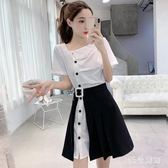 兩件式洋裝套裝女新款夏季皺褶設計感襯衫連身裙開口半身短裙子 AW18391【123休閒館】