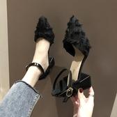 法式少女高跟鞋女ins仙粗跟網紅百搭中跟秋款晚晚單鞋黑色潮