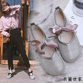 蝴蝶結圓頭休閒鞋娃娃鞋學生單鞋女鞋/米蘭世家
