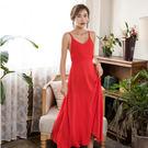 *魔法之城*L27708波西米亞沙灘度假長裙夏裝紅色吊帶雪紡連衣裙