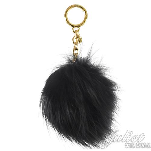 茱麗葉精品【全新現貨】MICHAEL KORS POM POMS 狐狸毛鑰匙吊飾.黑