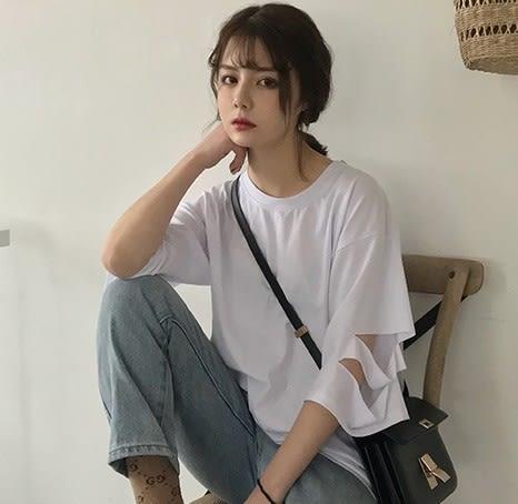 EASON SHOP(GU6885)實拍LUCK表情搞怪頭像袖子割破洞圓領短袖T恤女上衣服落肩七分袖內搭衫恤素色棉T恤