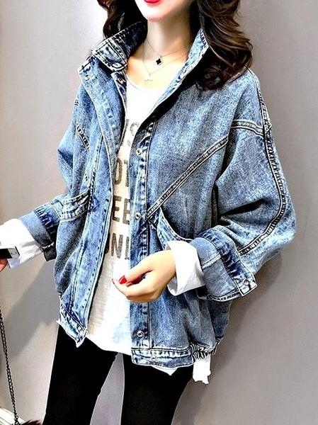 克妹Ke-Mei【AT57918】歐洲站 辛辣龐克大口袋立領騎士風牛仔外套