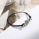 艷炟綠發晶手鏈女 韓版簡約清新個性森系水晶轉運珠編織手繩禮物