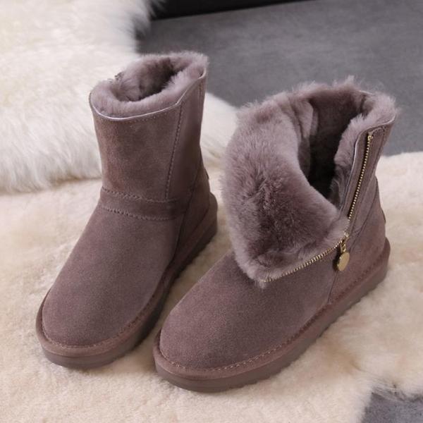 雪地靴女2020年新款加絨加厚冬季側拉鏈韓版短靴保暖防滑百搭棉鞋 童趣潮品
