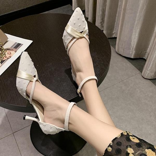 網紅高跟鞋細跟2021春夏新款尖頭絲帶淺口百搭一字帶中空仙女涼鞋 伊蘿